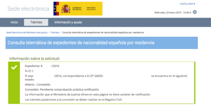 Resolución nacionalidad Saeed