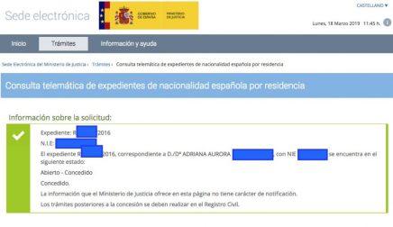 Concesiones de Nacionalidad Española Adriana Aurora