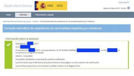 Concesiones de Nacionalidad, Blanca Maribel