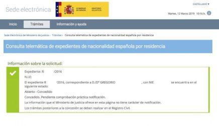 concesiones de nacionalidad: Gregorio vía telemática