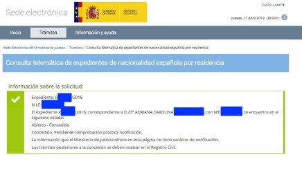 Concesiones de Nacionalidad Española Adriana