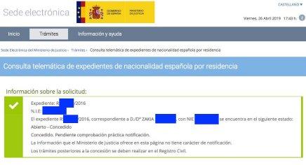 Concesiones de Nacionalidad Española Zakia