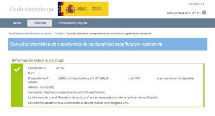 Concesiones de Nacionalidad Española Malik