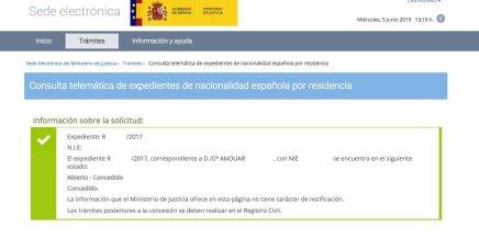 concesión de nacionalidad española Anouar