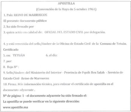 Apostilla del Certificado de Nacimiento de Marruecos