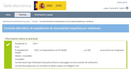 resoluciones de concesión de nacionalidad española Diogo