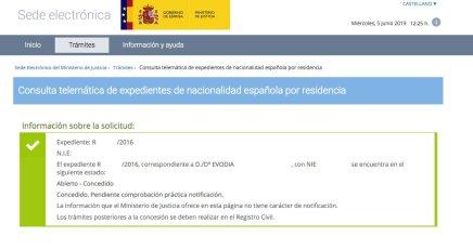 concesión de nacionalidad española Evodia