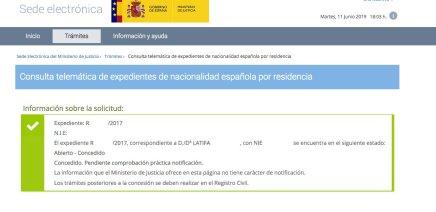 resoluciones de concesión de nacionalidad española Latifa