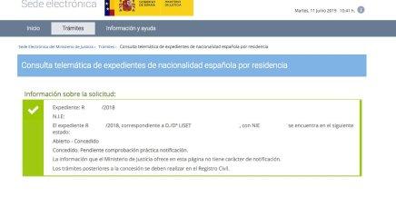 resoluciones de concesión de nacionalidad española Liset