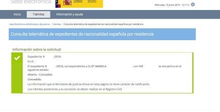 resoluciones de concesión de nacionalidad española Mariela