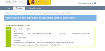 Resolución de Concesión de Nacionalidad Española Omar