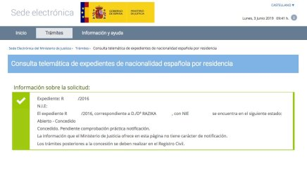 Resoluciones de concesión de nacionalidad española Razika