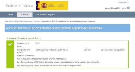 Resolución de Concesión de Nacionalidad Española Tarcila