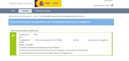 Resoluciones de concesión de nacionalidad española Yenny