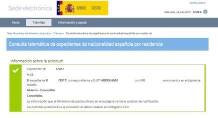 Concesión de Nacionalidad Española de ABDELHADI
