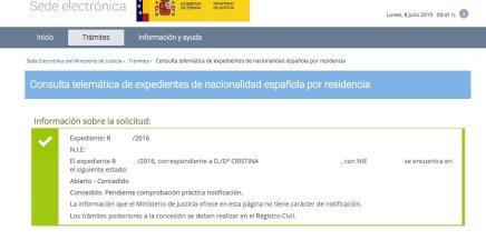 Resoluciones de Concesión de Nacionalidad Española Cristina