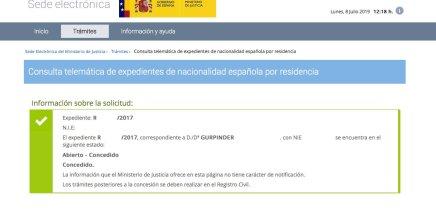 Resoluciones de Concesión de Nacionalidad Española Gurpinder