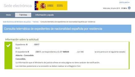Concesión de Nacionalidad Española de IMRAN