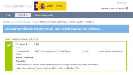 Concesión de Nacionalidad Española de MOUSSA