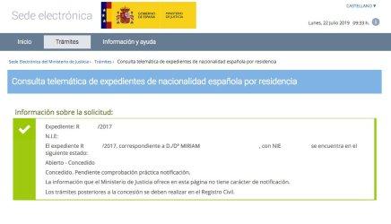 Resolución de Concesión de Nacionalidad Española de Miriam