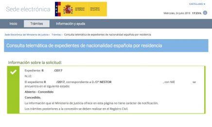 Concesión de Nacionalidad Española de NESTOR