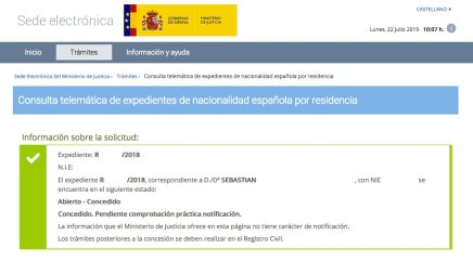 Resolución de Concesión de Nacionalidad Española de Sebastian