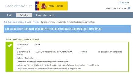 Resoluciones de Concesión de Nacionalidad Española Shehada