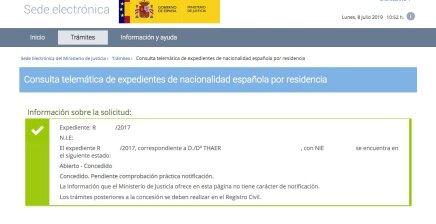 Resoluciones de Concesión de Nacionalidad Española Thaer