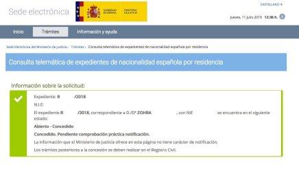 Resoluciones de Concesión de Nacionalidad Española Zohra