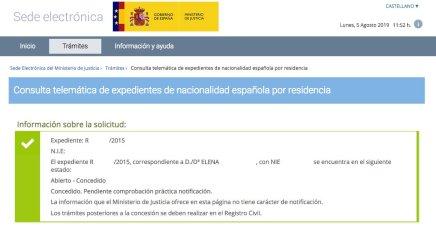 Resolución de Concesión de Nacionalidad Española de Elena