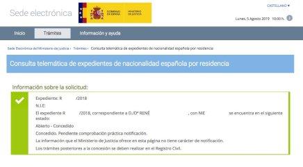 Resolución de Concesión de Nacionalidad Española de René