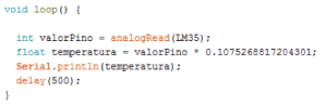 Código da função loop