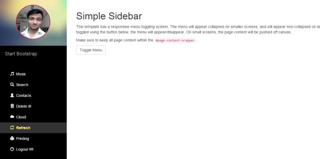 ASP.NET Sidebar Menu with Profile Image