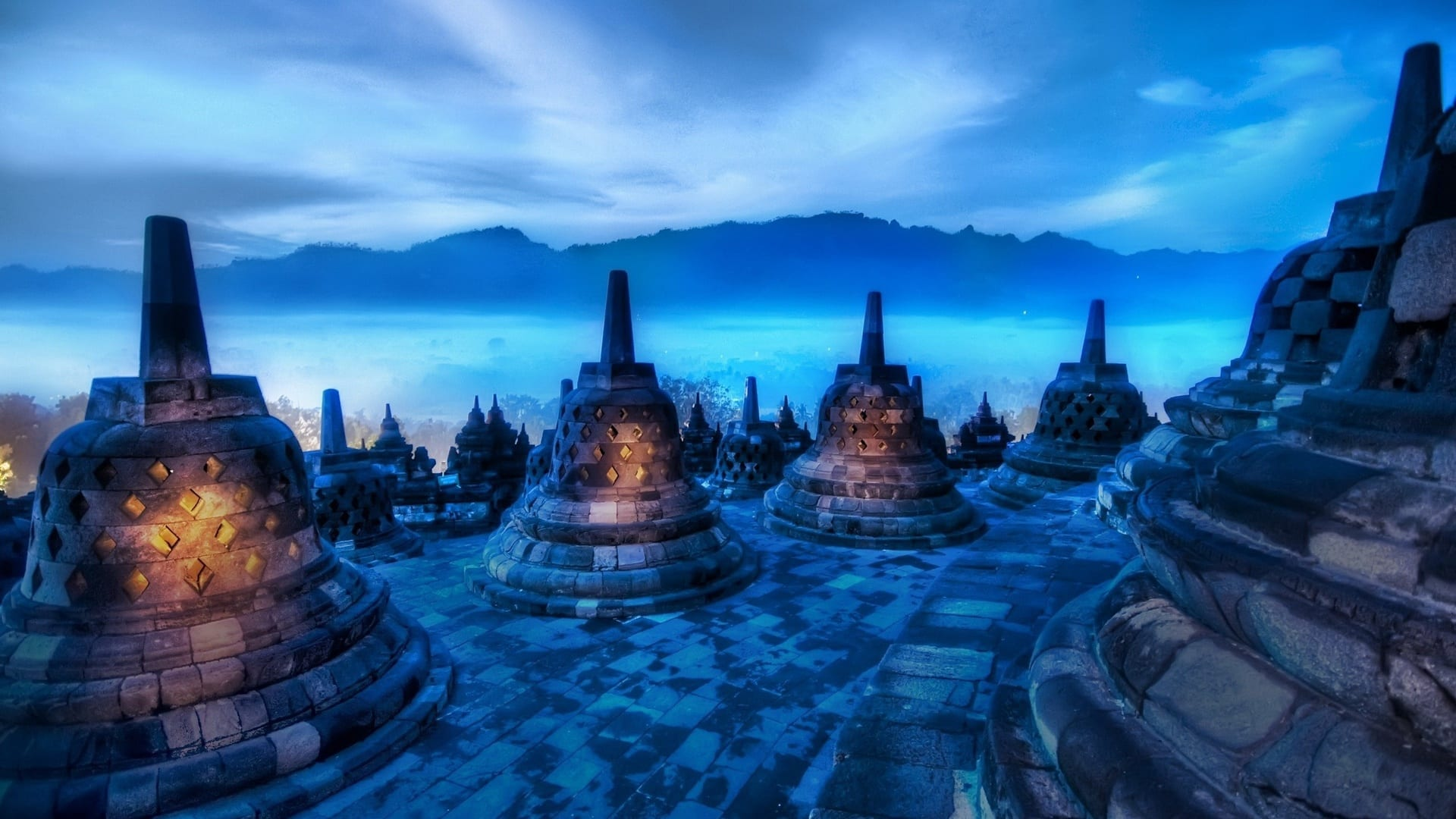 Borobudur-Temple-Sunset