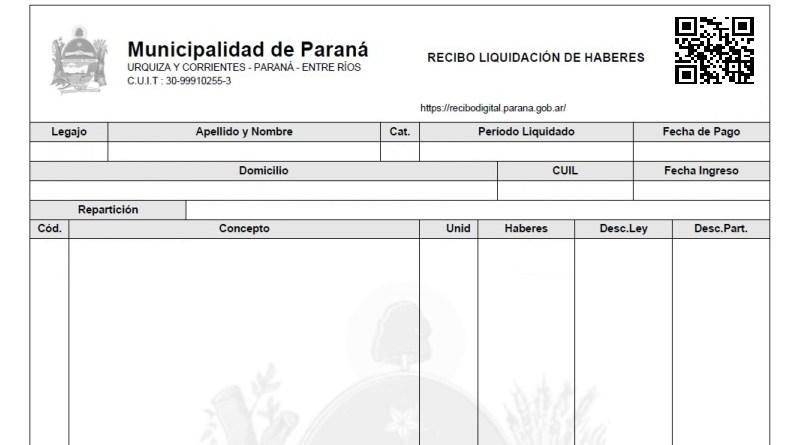 Recibo digital - Municipalidad de Paraná