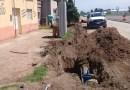 Tramo final del tendido de agua potable en el Acceso Sur