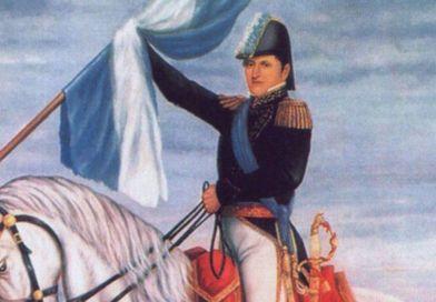 Manuel Belgrano sosteniendo la Bandera Argentina
