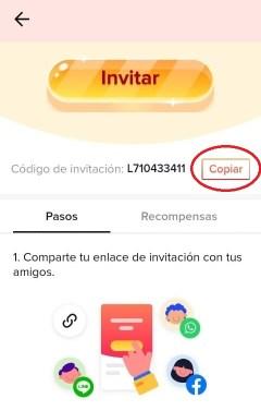Código para invitar amigos
