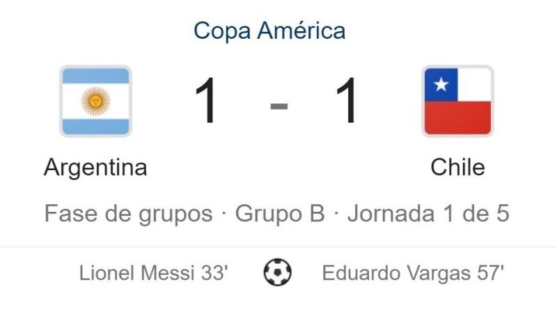 Empate de Argentina frente a Chile en Copa América