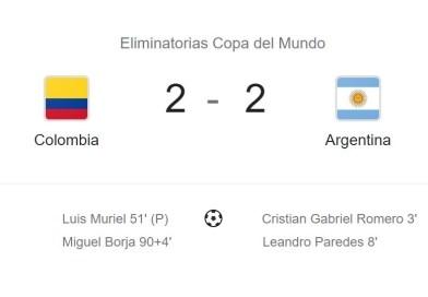 Eliminatorias junio 2021, partido entre Argentina y Colombia