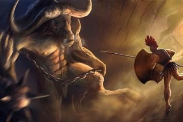 Le combat entre Thésée et le Minotaure