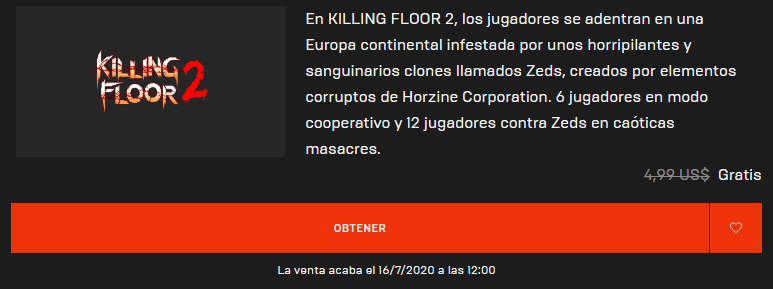 Conseguir gratis el Killing Floor 2 en Epic Games