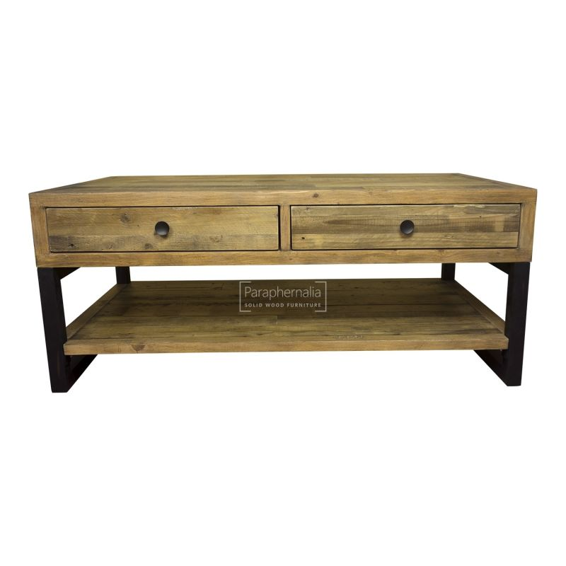 dalat industrial coffee table two drawer reclaimed wood coffee table
