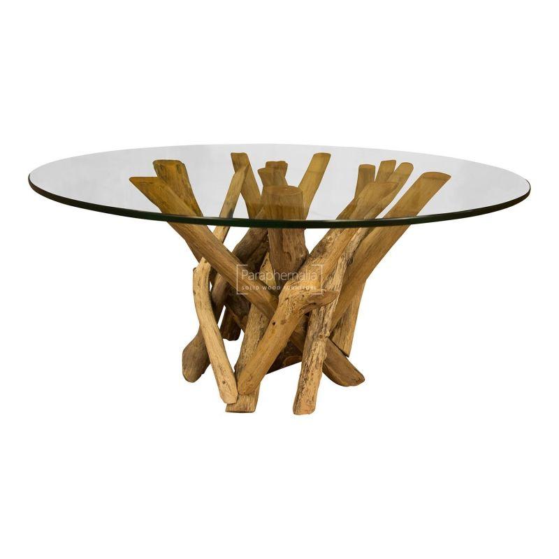 java teak driftwood glass top round coffee table