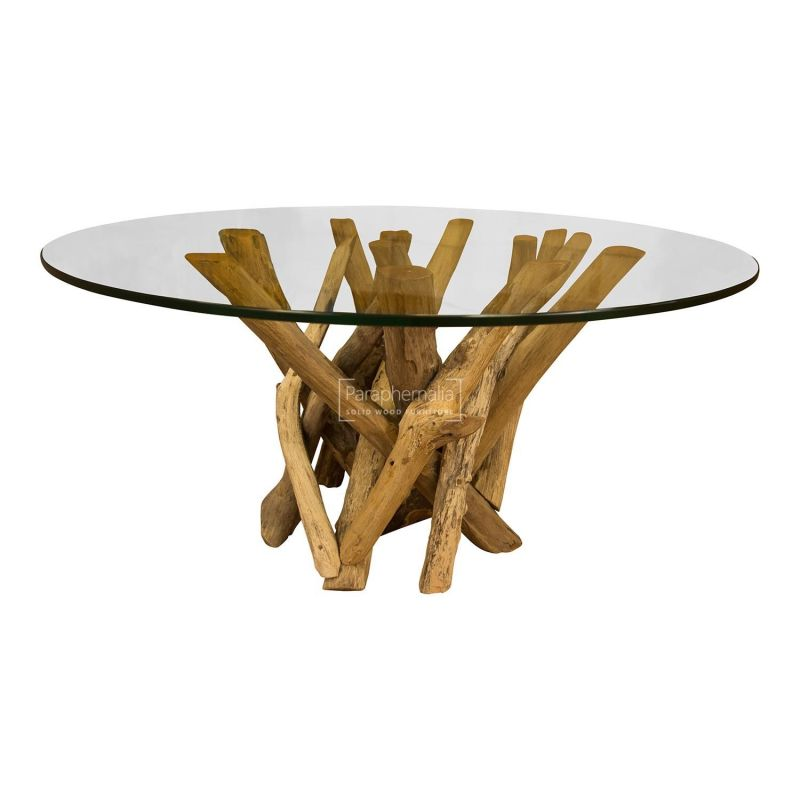 Java Teak Driftwood Glass Top Round Coffee Table Driftwood Furniture Solid Teak Side Table Coffee Table