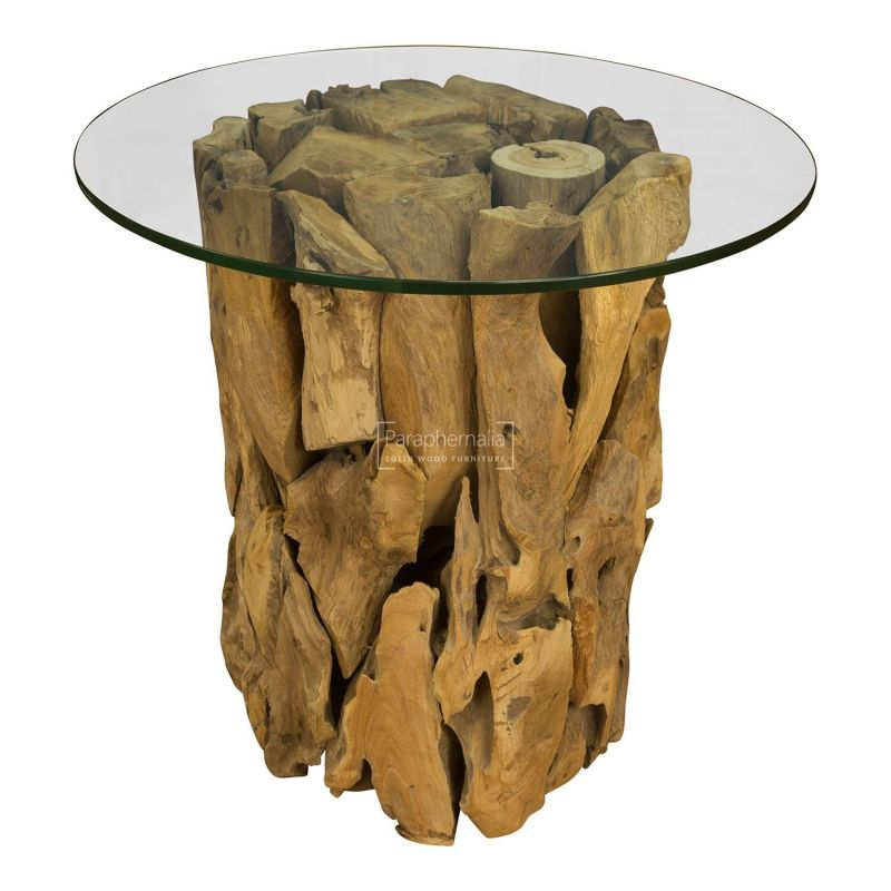 java teak driftwood trunk glass top round side table