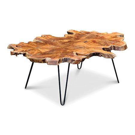 java teak root coffee table large black metal legs