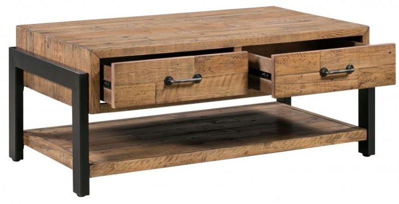 jasper reclaimed coffee table drawers shelf