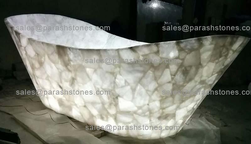 Semi precious gemstone bath tub  luxury bath tub in quartz agate amethyst