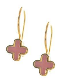 Παιδικό σκουλαρίκι σταυροί από επιχρυσωμένο ασήμι με ρόζ σμάλτο